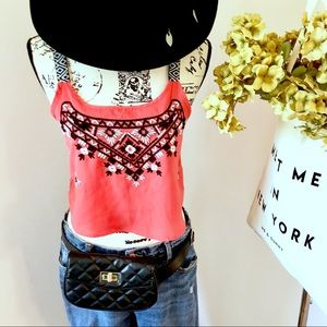 Xhilaration embroidered melon crop top. Size small